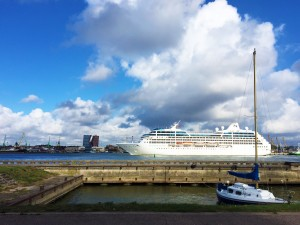 Restaurant's yard view: Curonian lagoon, cruise ships, Klaipeda city on the other shore of the lagoon - 4