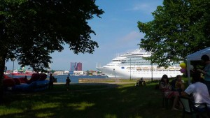 Restaurant's yard view: Curonian lagoon, cruise ships, Klaipeda city on the other shore of the lagoon - 6